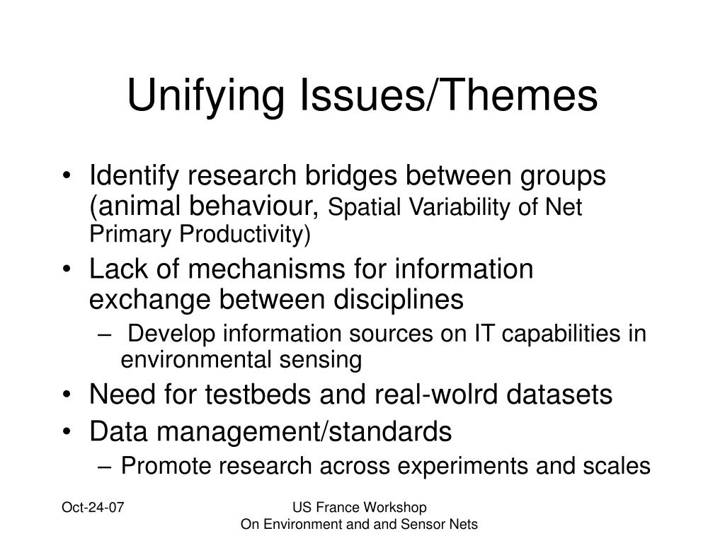 Unifying Issues/Themes
