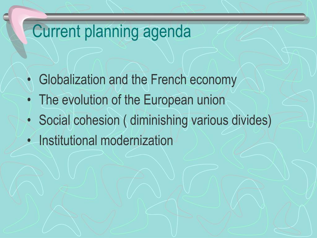 Current planning agenda