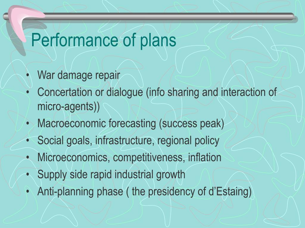 Performance of plans