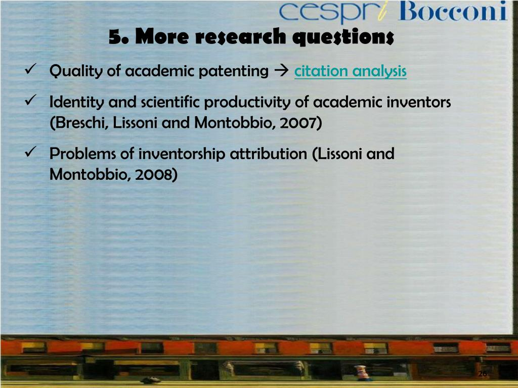 5. More research questions