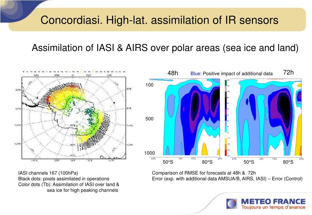 Concordiasi. High-lat. assimilation of IR sensors