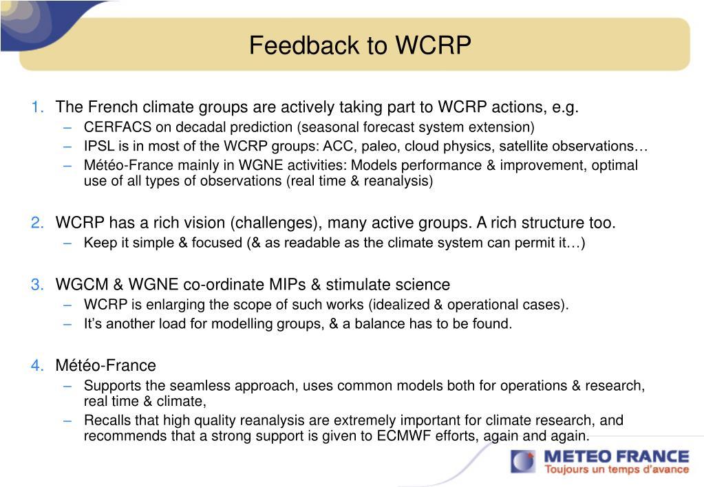 Feedback to WCRP