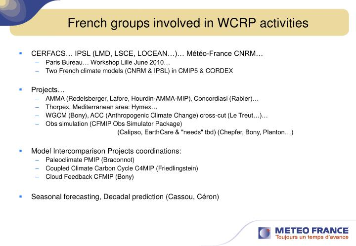 French groups involved in wcrp activities