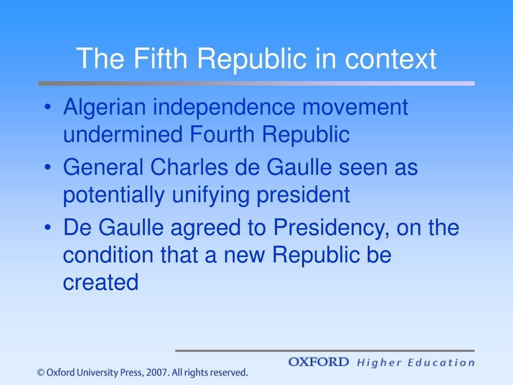 The Fifth Republic in context