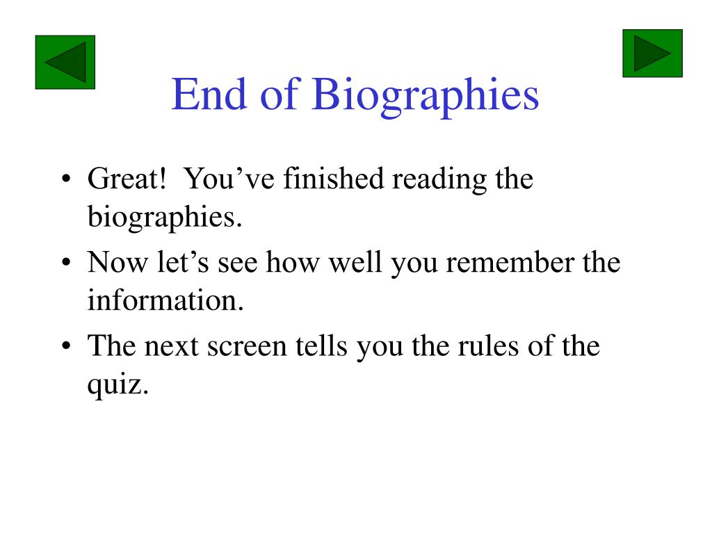 End of Biographies