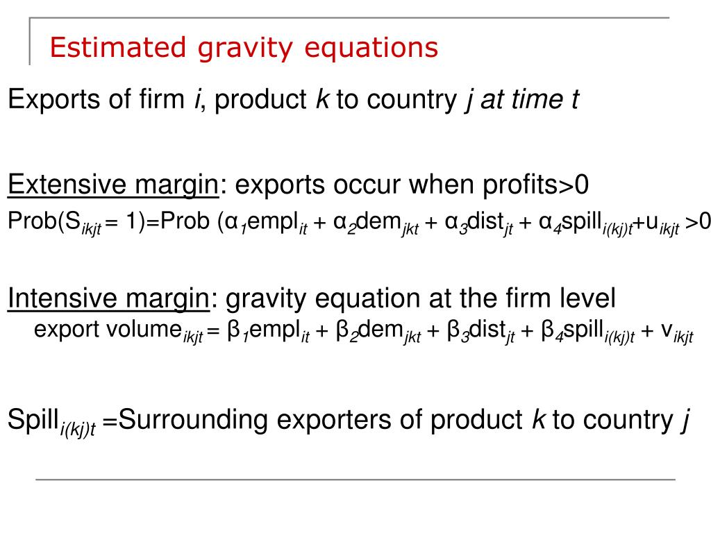 Estimated gravity equations