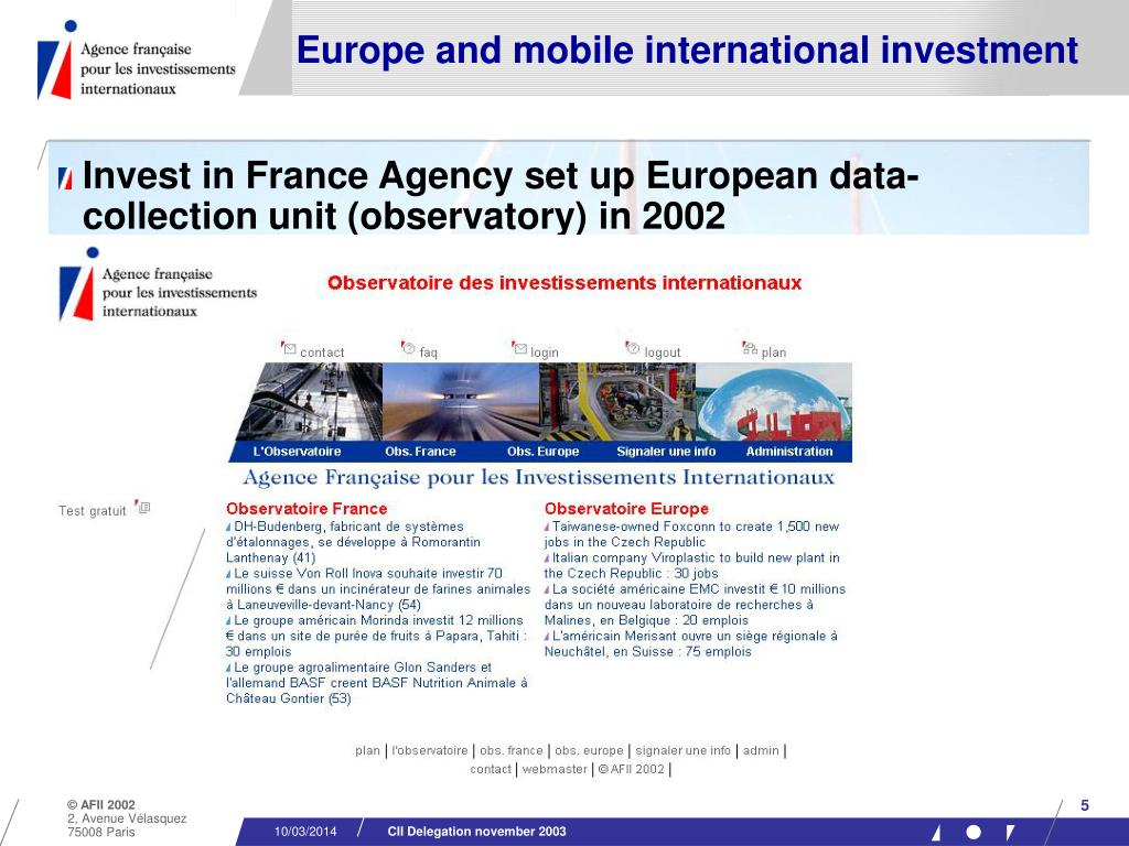 Europe and mobile international investment
