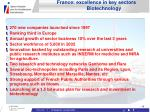 france excellence in key sectors biotechnology