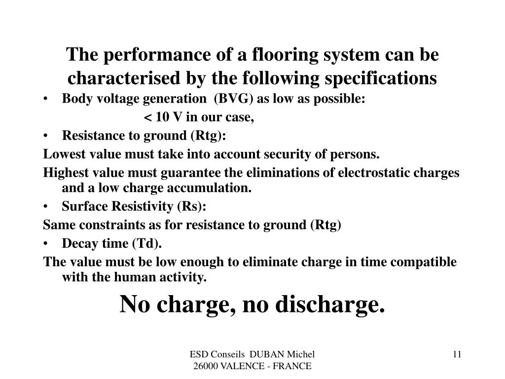 The performance of a flooring system can be characterised by the following specifications