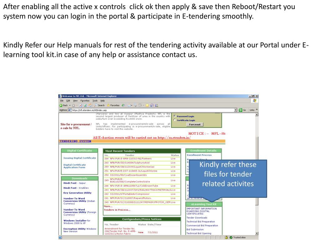 PPT - Help Manual for Machine Setup (For NFL Portal