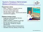 systems database administrator background experience examples