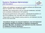 systems database administrator job description