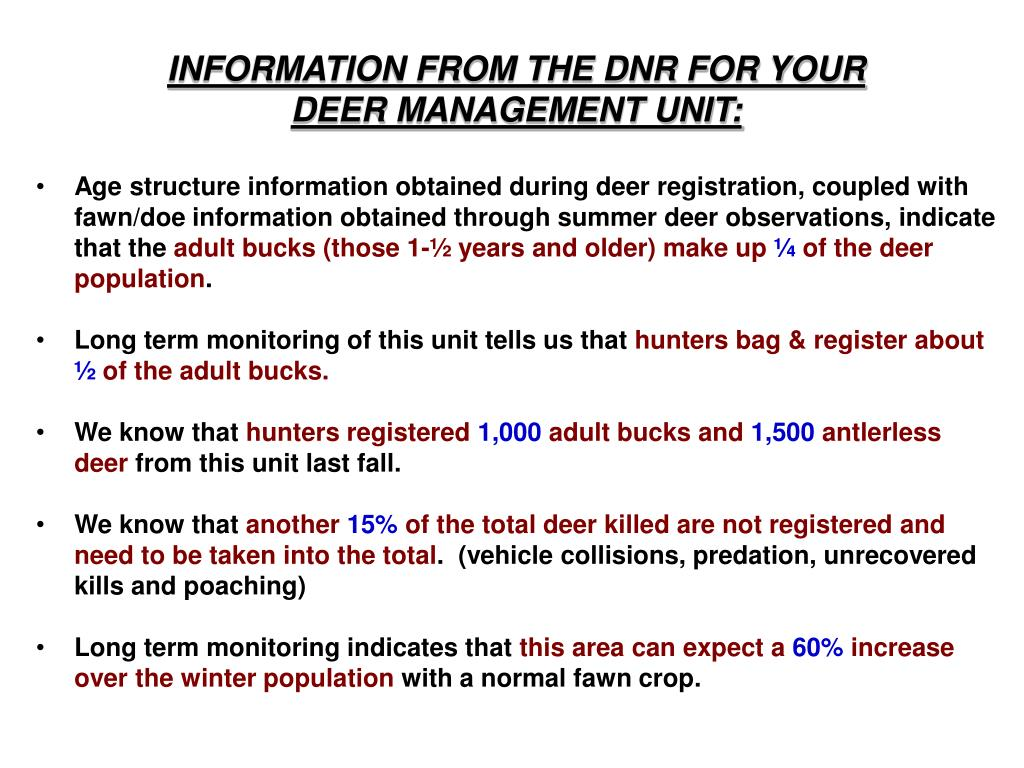 INFORMATION FROM THE DNR FOR YOUR