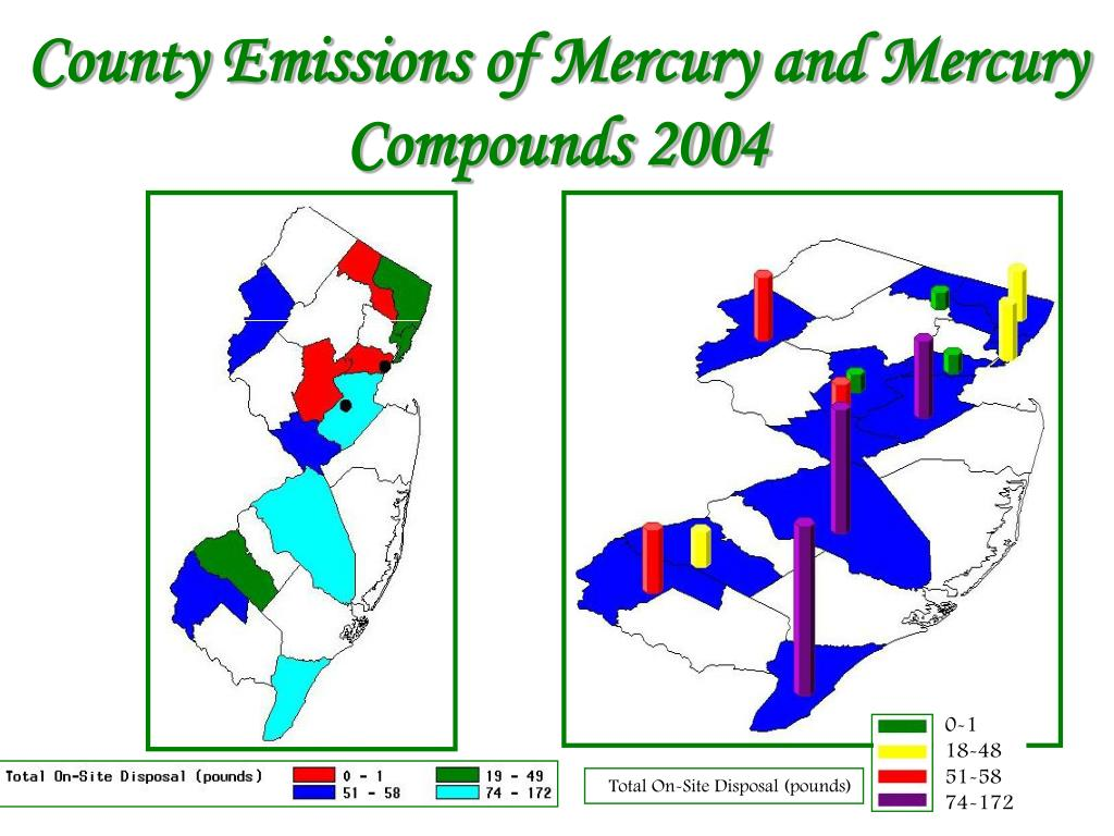 County Emissions of Mercury and Mercury Compounds 2004