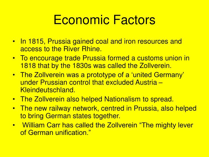 summary factors unification germany The process of the unification of germany occurred in the nineteenth century (1800-1900) prior to unification, there were many states in central europe some of them were very small, possibly no more than 5 miles (80 km) from one border to the other.