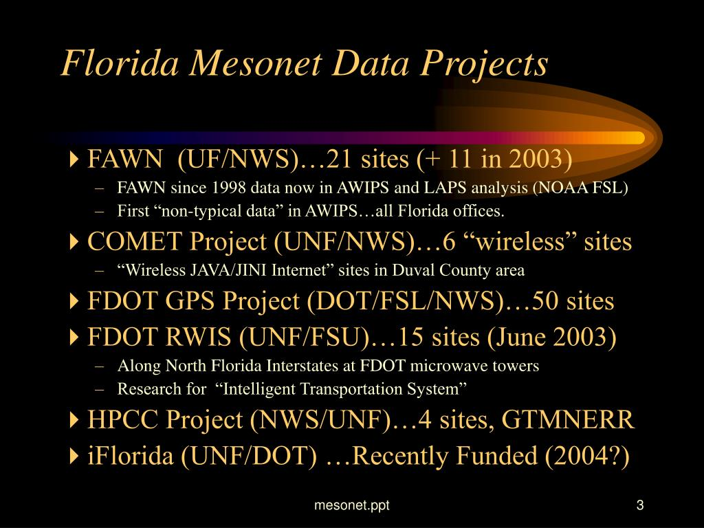 Florida Mesonet Data Projects