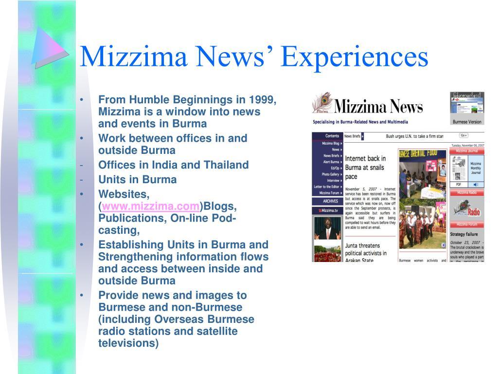 Mizzima News' Experiences