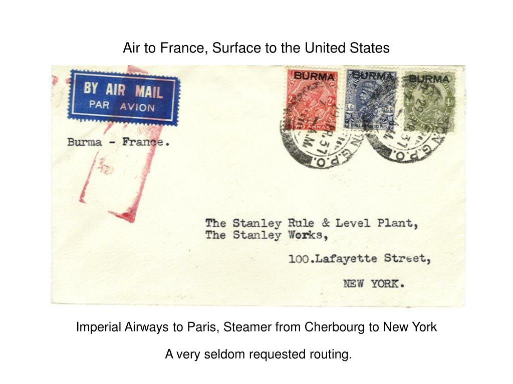 Air to France, Surface to the United States