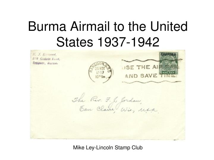 Burma airmail to the united states 1937 1942
