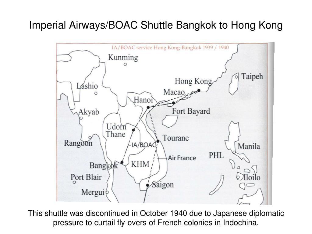Imperial Airways/BOAC Shuttle Bangkok to Hong Kong
