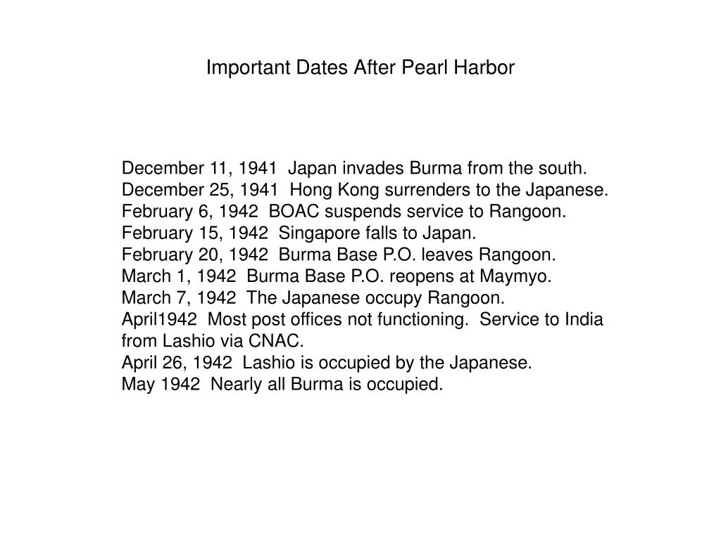 Important Dates After Pearl Harbor