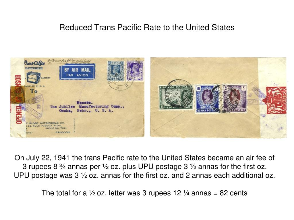 Reduced Trans Pacific Rate to the United States