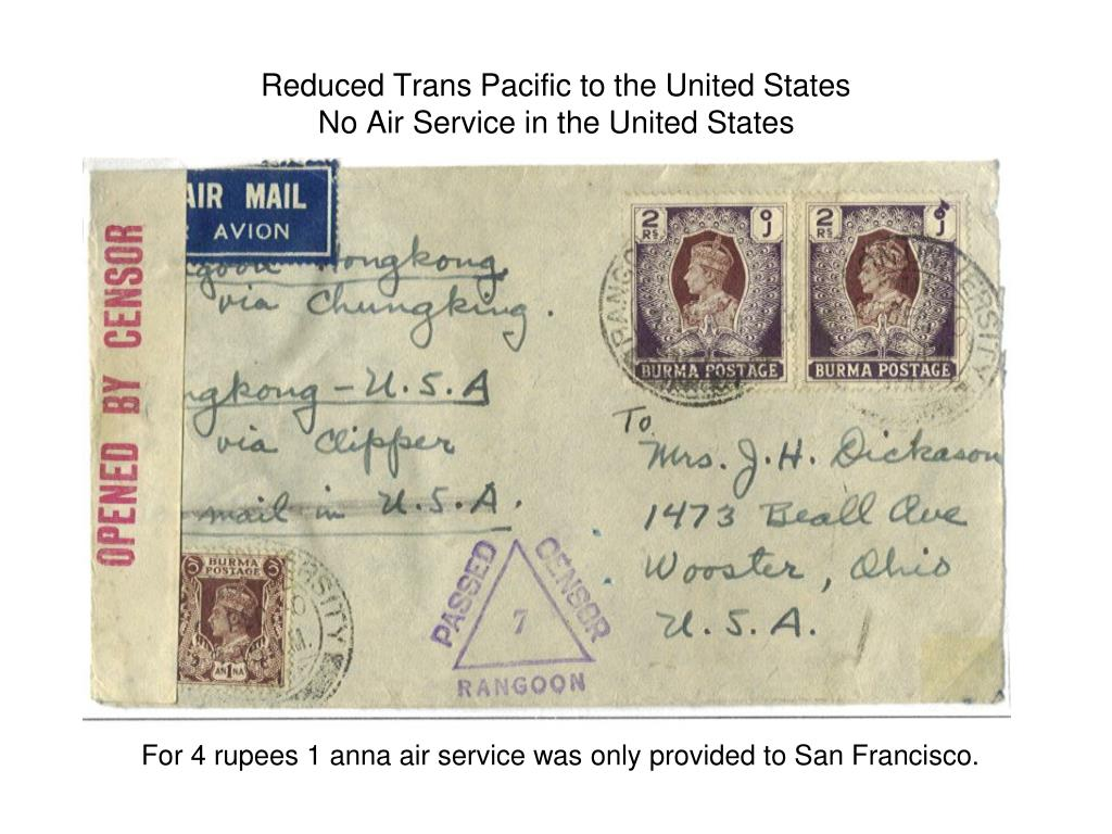 Reduced Trans Pacific to the United States