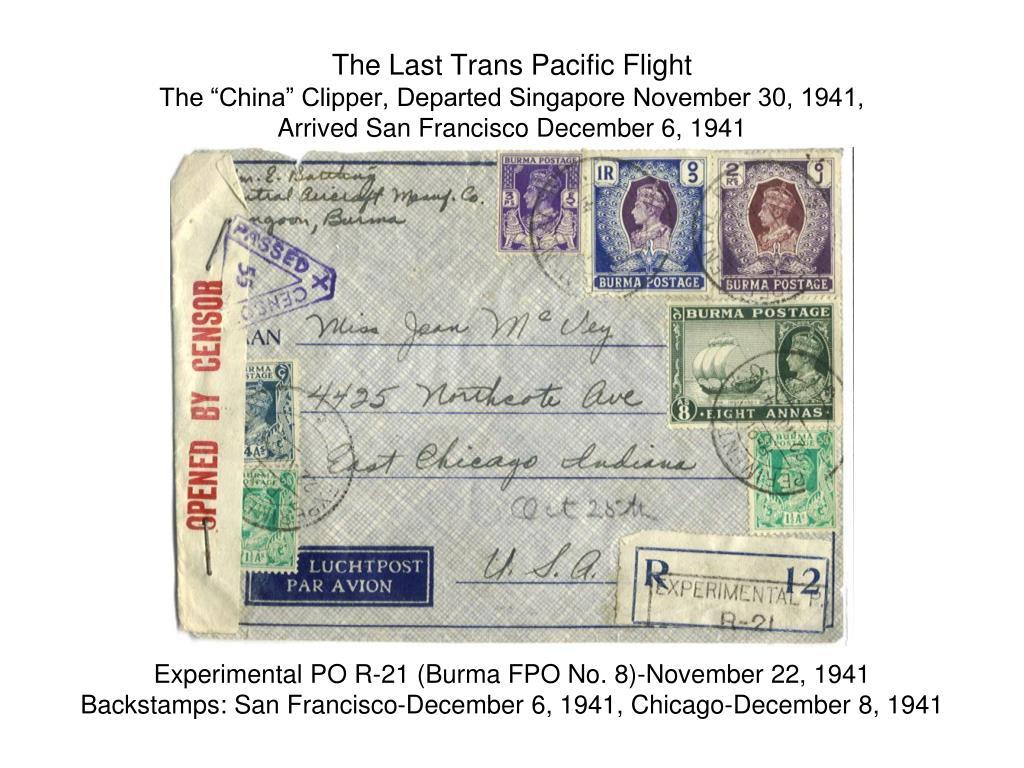 The Last Trans Pacific Flight