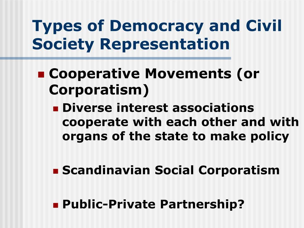 Types of Democracy and Civil Society Representation