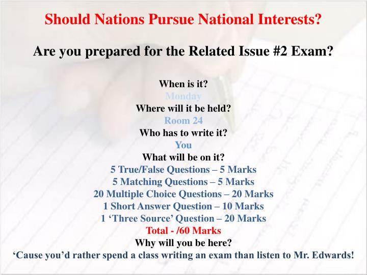 Should Nations Pursue National Interests?