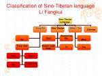 classification of sino tibetan language li fangkui