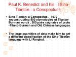 paul k benedict and his sino tibetan a conspectus