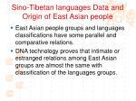 sino tibetan languages data and origin of east asian people