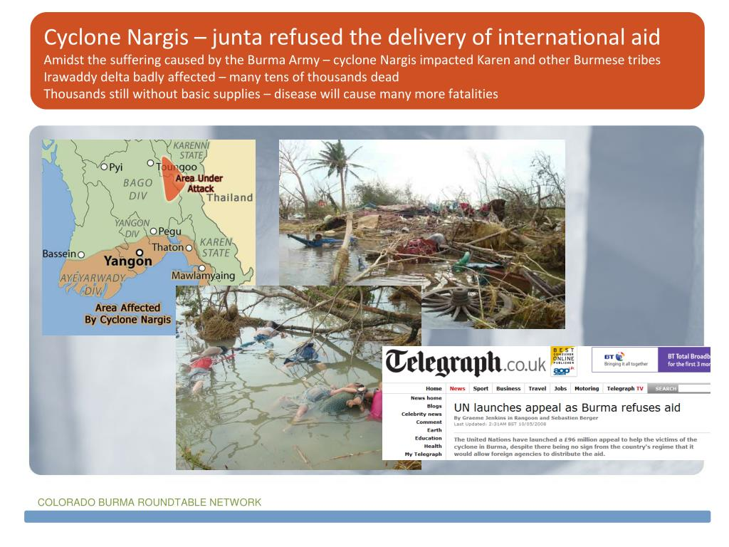 Cyclone Nargis – junta refused the delivery of international aid