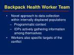backpack health worker team