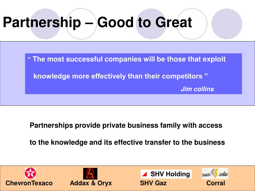 Partnership – Good to Great