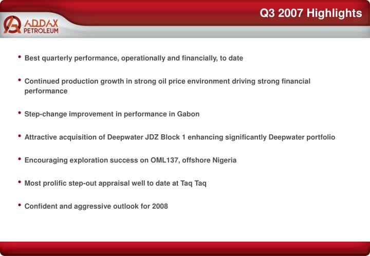 Q3 2007 highlights