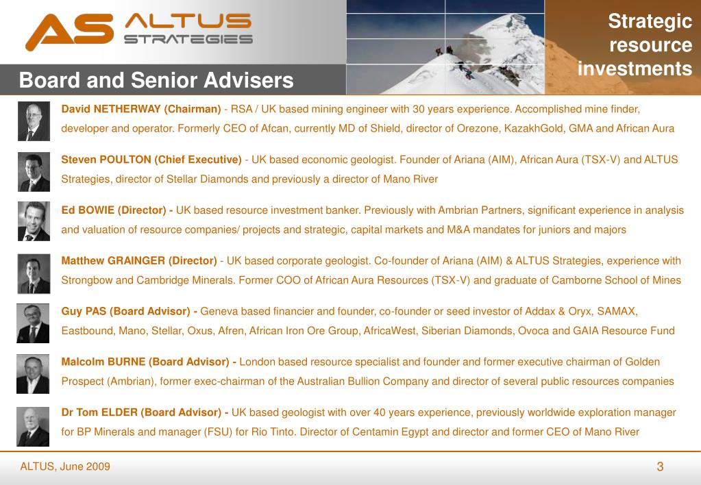 Board and Senior Advisers