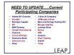 need to update current participating companies