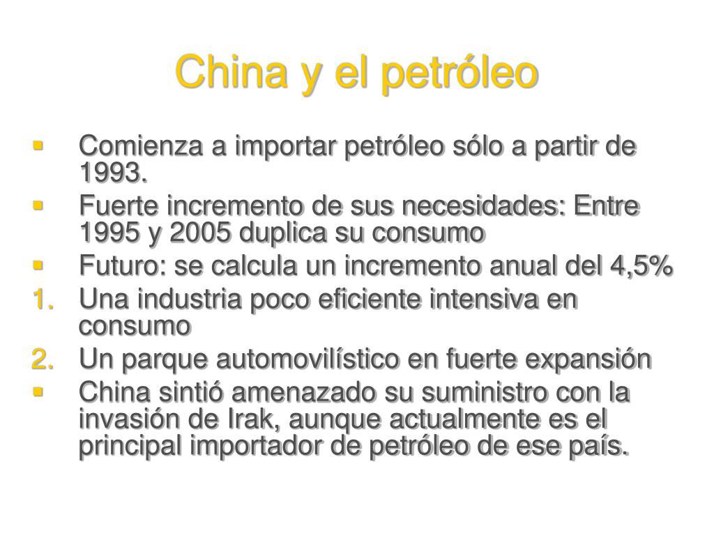 China y el petróleo