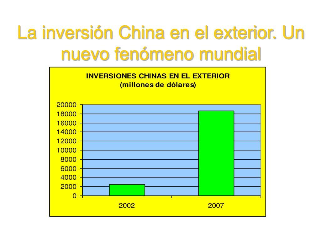 La inversión China en el exterior. Un nuevo fenómeno mundial