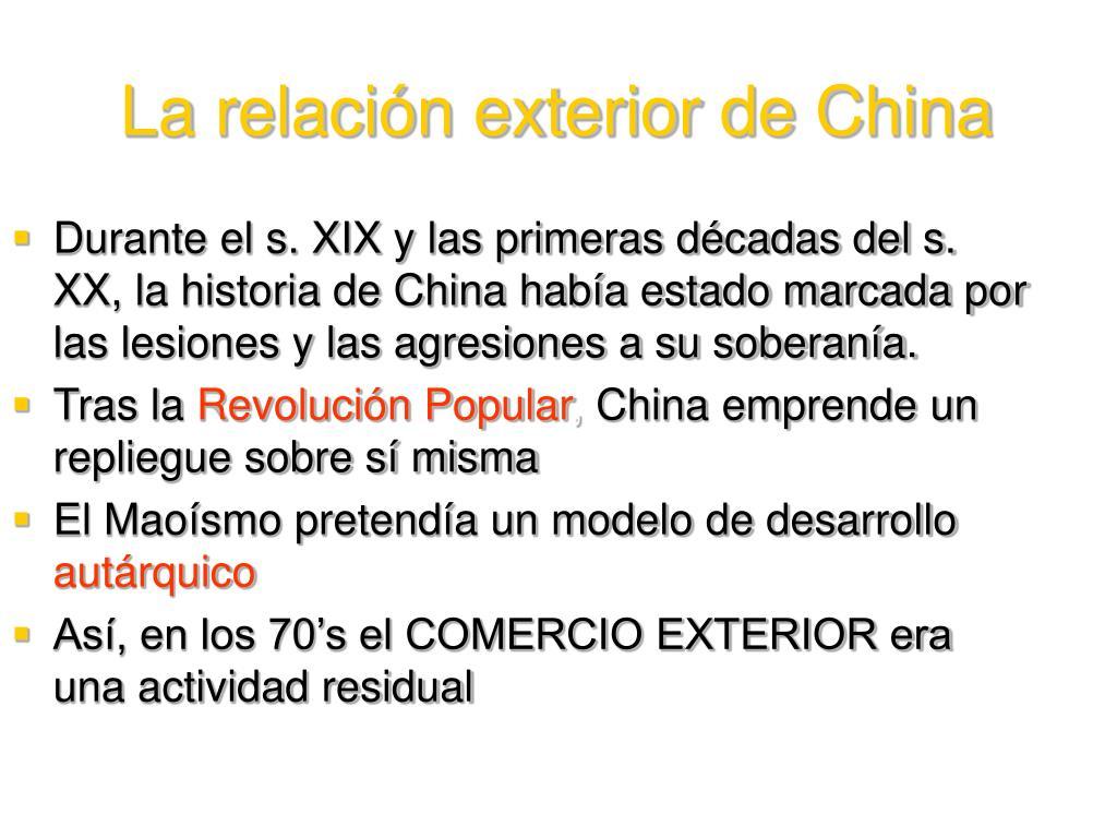 Durante el s. XIX y las primeras décadas del s. XX, la historia de China había estado marcada por las lesiones y las agresiones a su soberanía.