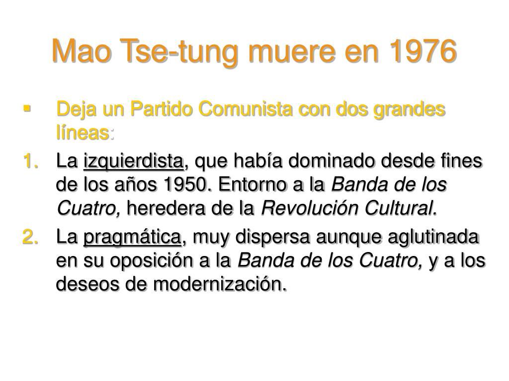 Mao Tse-tung muere en 1976