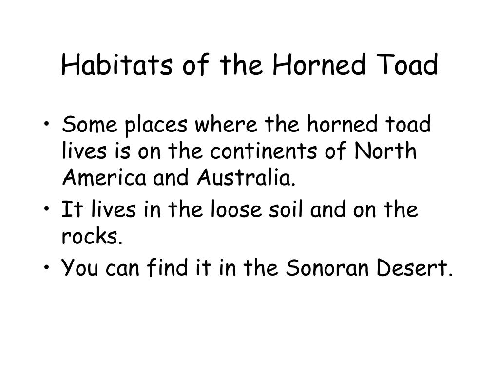 Habitats of the Horned Toad