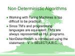 non deterministic algorithms
