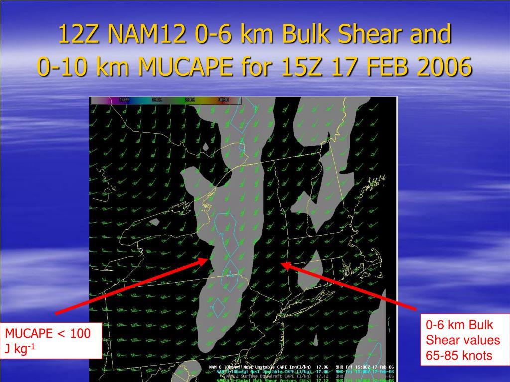 12Z NAM12 0-6 km Bulk Shear and