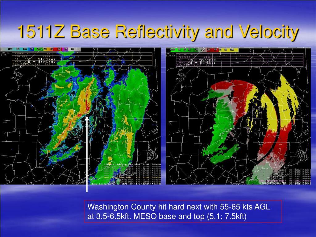 1511Z Base Reflectivity and Velocity