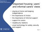 dispersed housing users and informal carers views