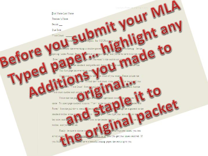 Before you submit your MLA