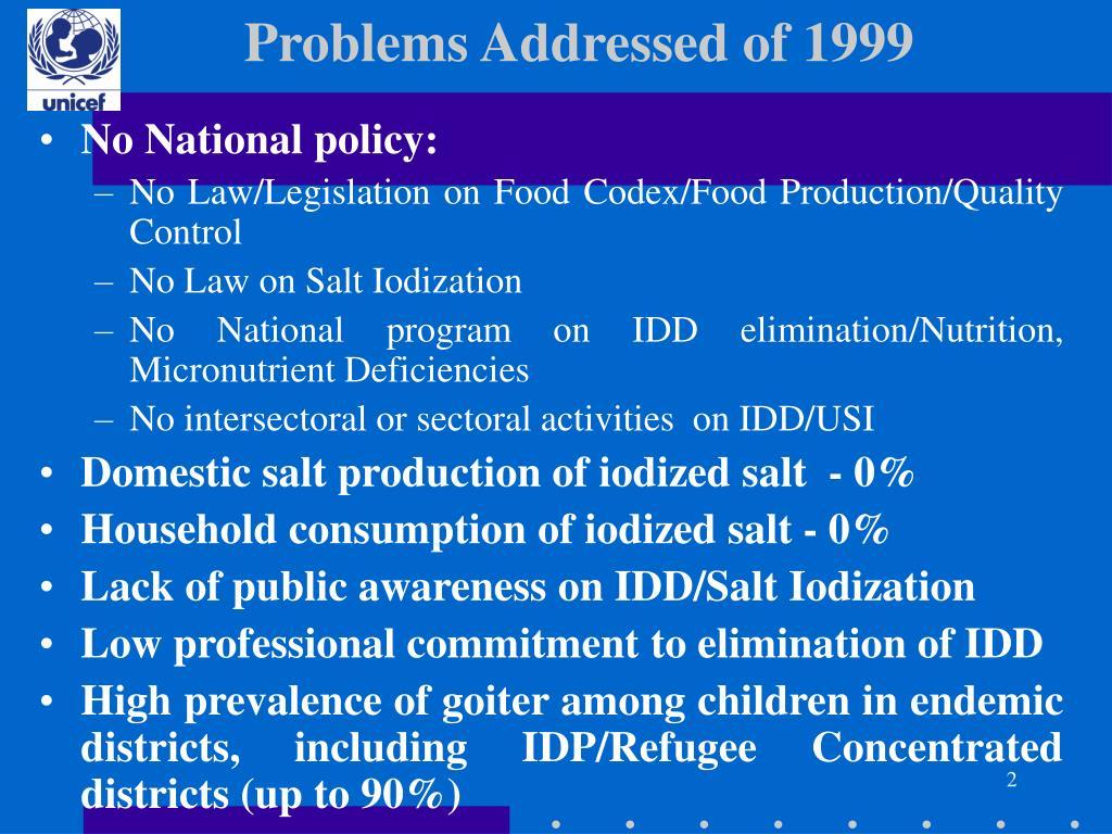 Problems Addressed of 1999